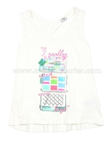 Mayoral Girl's Tank Top with Printed Bags