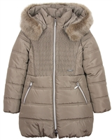 Mayoral Junior Girl's Taupe Puffer Coat with Hood
