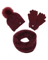 Mayoral Junior Girl's Burgundy Hat, Scarf and Gloves Set