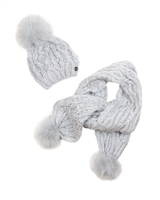 Mayoral Junior Girl's Gray Cable Knit Hat an Scarf Set