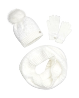 Mayoral Junior Girl's White Hat, Scarf and Gloves Set