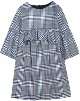 Mayoral Junior Girl's Check Dress with Bell Sleeves