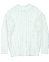Mayoral Junior Girl's Cable Knit Sweater in White