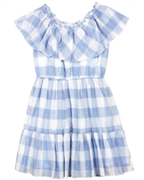 Mayoral Junior Girl's Plaid Dress with Off-shoulder Valance