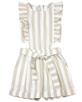 Mayoral Junior Girl's Striped Linen Romper