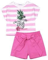Mayoral Junior Girl's  Striped T-shirt and Jersey Shorts Set