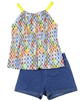 Mayoral Junior Girl's  Printed Top and Jegging Shorts Set