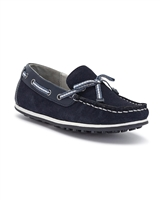 MAYORAL Boys Split Leather Moccasin in Navy