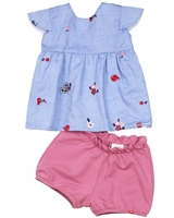 Nano Baby Girls Chambray Top and Terry Shorts Set