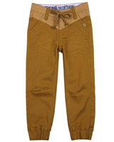 Nano Boys Twill Pants with Elastic Cuffs in Brown