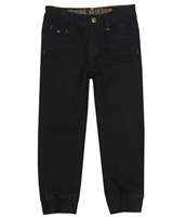 Nano Boys Twill Pants with Elastic Cuffs in Black