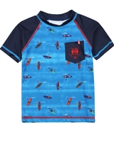 Nano Boys Short Sleeve Rashguard with Kayaks Print
