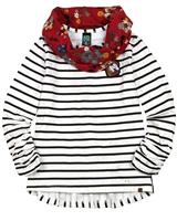 Nano Striped Top with Loop Scarf