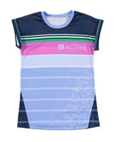 Nano Short Sleeve Athletic Top with Striped Front