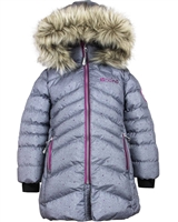 Nano Girls Quilted Coat with Hood in Grey