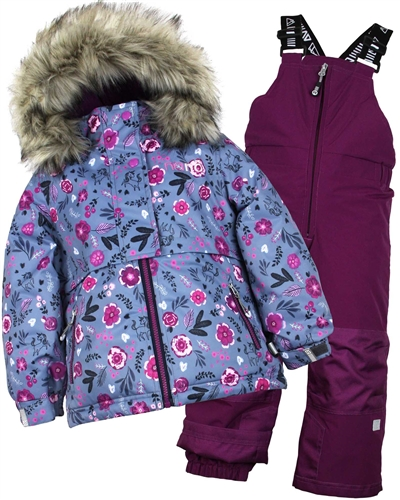 Nano Girls Snowsuit with Floral Print Jacket