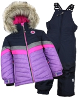 Nano Girls Snowsuit with Quilted Striped Jacket