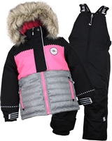 Nano Girls Snowsuit with Colour-block Quilted Jacket