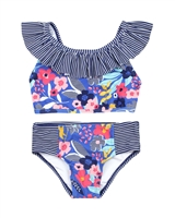Nano Girls Two-piece Bikini in Stripe and Floral Print