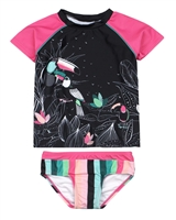 Nano Girls Two-piece Rashguard in Toucans and Stripe Print