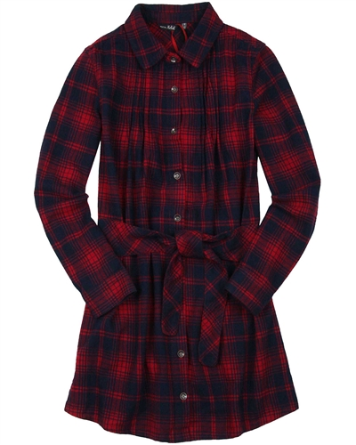 NoBell Junior Girl's Plaid Flannel Dress