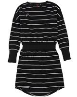 NoBell Junior Girl's Striped Dress with Dolman Sleeves in Black