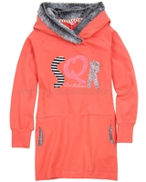 Nono Jersey Dress with Furry Hood Coral