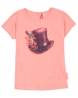 Nono T-shirt with Hat in Neon Coral