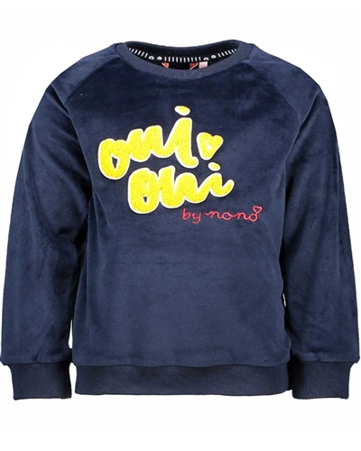 Nono Velour Sweatshirt in Navy with 3D Applique