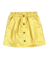 Nono Pleather Skirt with Buttons in Amber Yellow