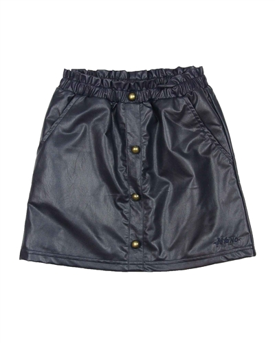 Nono Pleather Skirt with Buttons in Navy