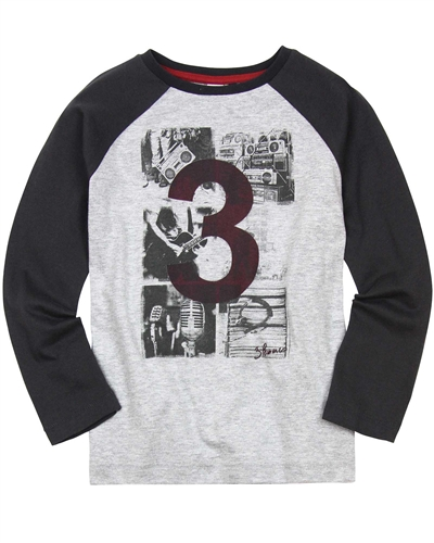 3Pommes Boy's Raglan Sleeve T-shirt with Rock Print
