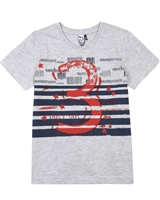 3Pommes Boy's T-shirt with Stripes Cargo Graphic