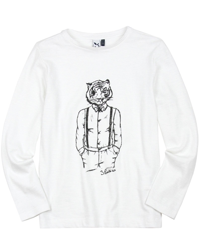 3Pommes Boys White T-shirt with Tiger Graphic