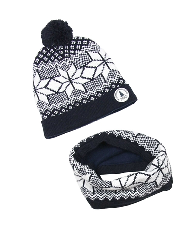 3Pommes Boys Fair Isle Hat with Pompom and Snood Set