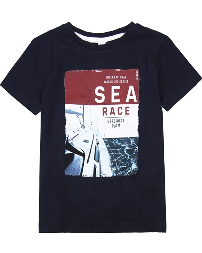3Pommes Boy's Navy T-shirt with Sea Race Print