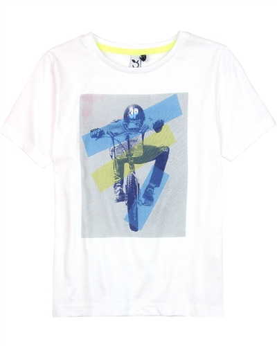3Pommes Boy's T-shirt with Motorcyclist Print