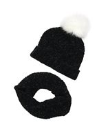 3Pommes Hat with Pompom and Snood Set in Black