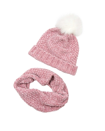 3Pommes Hat with Pompom and Snood Set in Pink