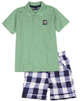 Quimby Boys Polo and Plaid Shorts Set