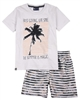 Quimby Boys T-shirt with Palm Print and Striped Swim Shorts Set