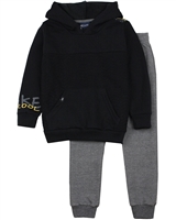 Quimby Boys Textured Hoodie in Black and Pants Set