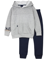 Quimby Boys Textured Hoodie in Grey and Pants Set