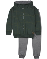 Quimby Boys Green Sweatshirt in Geometric Print and Pants Set