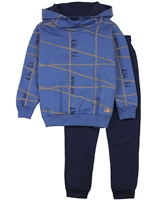 Quimby Boys Blue Sweatshirt in Geometric Print and Pants Set