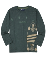 Quimby Boys T-shirt in Skateboard Print in Green