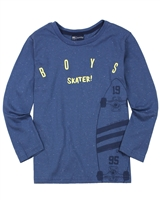 Quimby Boys T-shirt in Skateboard Print in Blue