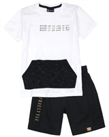 Quimby Boys T-shirt with Kangaroo Pocket and Shorts Set in White/Black