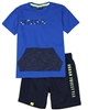 Quimby Boys T-shirt with Kangaroo Pocket and Shorts Set in Blue/Navy