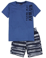 Quimby Boys T-shirt and Striped Shorts Set in Blue/Navy